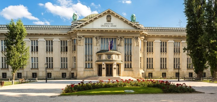Croatian National State Archives building in Zagreb. It was designed by architect Rudolf Lubynski and its  construction started in 1911. It hosted University Library until 1996.