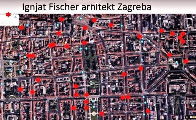 Prof. dr. Andrija Petar Bošnjak za potrebe je svoje prezentacije na planu Zagreba crvenim točkama označio zgrade koje je Ignjat Fischer projektirao i sagradio
